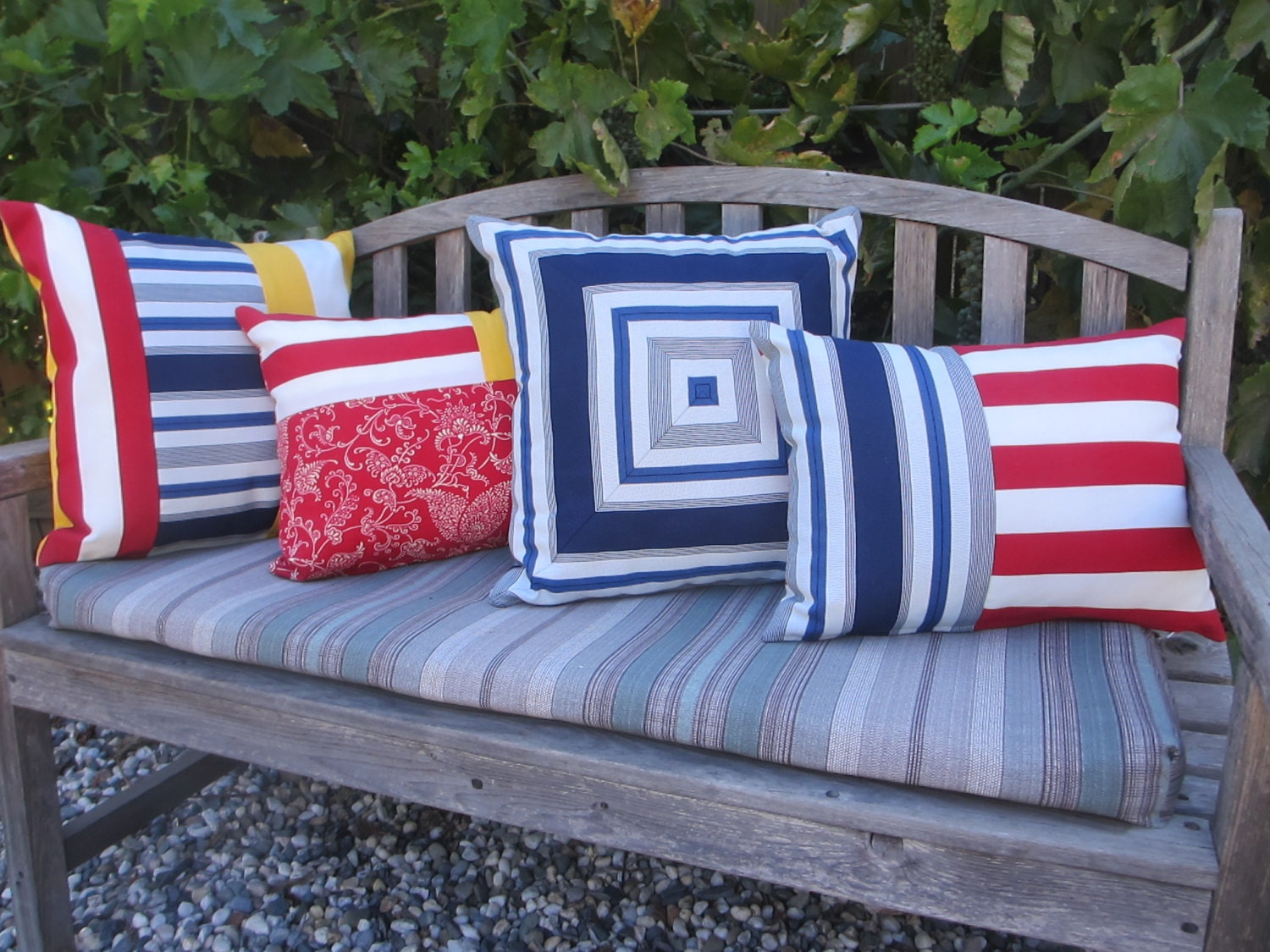 Outdoor Pillow Cover Pool Patio Pillows Striped Indoor