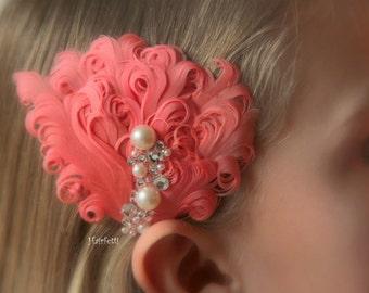 MINI Beach Appeal coral, coral hair piece, coral hair clip, beach wedding hair piece, coral wedding, dance costume, coral bridesmaid,