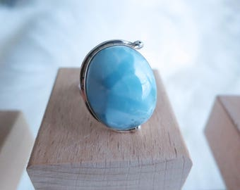 Size 5.5 Handmade Genuine Dominican Republic Larimar Sterling Silver Ring