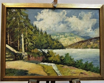 Original small oil painting European lake steps landscape signed Gruner Mother Wife peaceful small ART GIFT