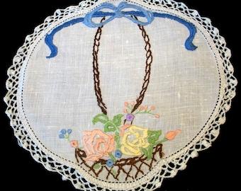 Vintage Linen Hand Embroidered Basket of Roses Doily