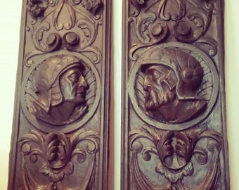 2 sizes in Walnut wood. Nineteenth century. Neo Renaissance Spanish style