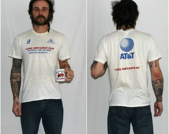 Vintage 1980s AT&T Long Distance Run. Tight White Hipster Paper Thin Rare 1988 Winston Salem Corporate Sponsor Logo Distressed T Shirt
