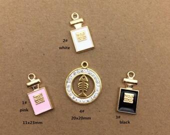 10PCS, Enamel Charm, Perfume Bottle Charm, Fishbone Charm, Girl Pendant, Jewelry Charm, Craft Supplies, Gold Tone
