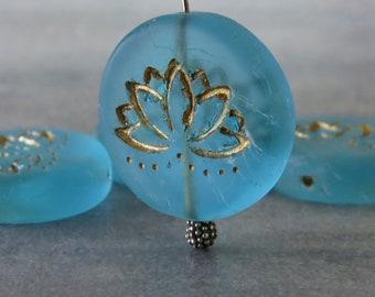 NEW Matte Aqua Lotus Flower 18mm Gold Czech Glass Coin Bead :  4 pc Czech Lotus Flower