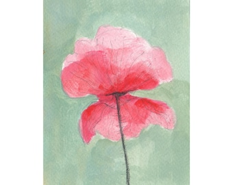 Original acrylic painting, Poppy flower