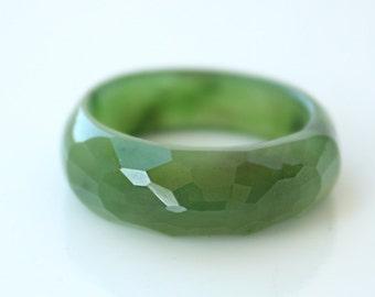 Jade Ring - Nephrite Jade Ring - Faceted Ring