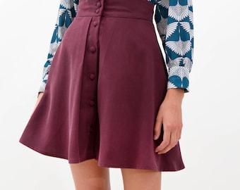 Pleats & Bow Skirt / A Line Skirt / Mini Tea Skirt / Buttons Skirt