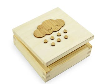 SECRET BOX - Wood Box with Cloud Ornament