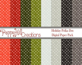 INSTANT DOWNLOAD - Printable Holiday Polka-Dot Digital Paper Pack - For Commercial or Personal Use - Digital Design