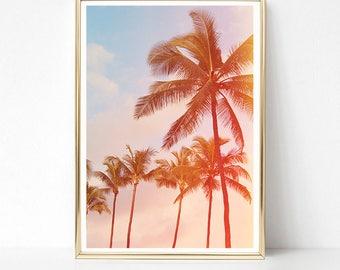 Palm Tree Print, Tropical Wall Art Prints, Printable Art, Palm Trees, Large PRINTABLE Poster, Tropical Decor, Beach Print, Digital Download