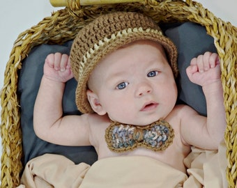 Boy Picture Outfit Baby Crochet Outfit, Newborn Fishing, Baby derby hat, cap and bow tie, derby cap, infant crochet cap