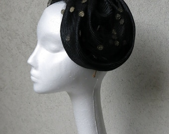 Margot - a stunning black headpiece with vintage polka dot veiling