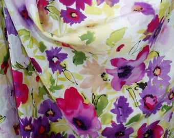 "silk cotton fabric flower pattern 55"" wide low 16 momme fabric"