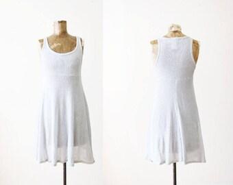 90s mini dress - 1990s babydoll dress - tank dress - silver dress - sparkle dress - raver - club - 90s clothing - contempo casuals - XS