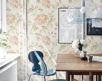 Peony Pattern Wallpaper Removable Wall Sticker Decal 006