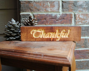 Thankful Carved Wooden Sign - Reclaimed Wood Sign