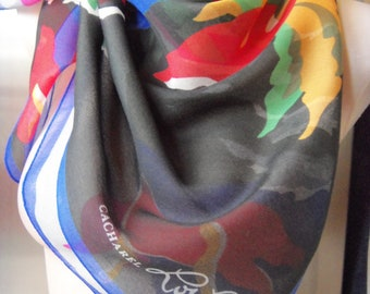 """Vintage LOU LOU CACHAREL Scarf Abstract Floral square 33"""""""