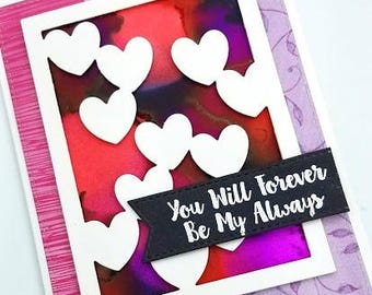 I Love You Card/Forever/Love/Always/Card for Him/Anniversary Card/Miss You/Card for Her/Wedding Anniversary/Hearts/Handmade Card
