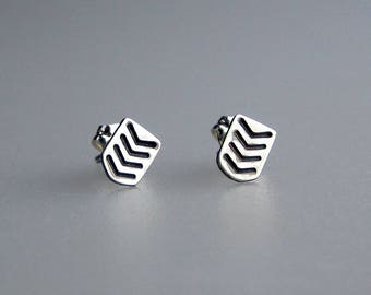 Sterling Silver Chevron Stud Earrings | Hand Stamped Silver Studs | Silver Chevron Studs | Everyday Jewelry | Everyday Studs | Made to Order