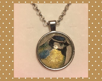 Garden bird jewellery. Blue tit Pendant necklace with chain. Gift boxed. Made in England