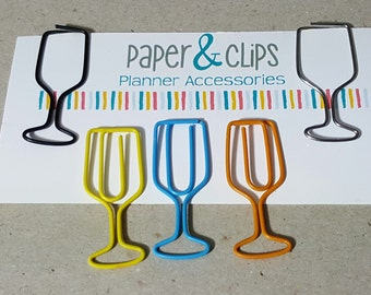 1 Wine Glass Paper Clip or Bookmark