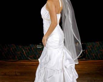 Silk dupioni Wedding dress with pickups.