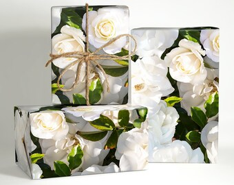 Floral gift wrap etsy rose wrapping paper white rose wrapping paper rose wedding gift wrap wedding flower mightylinksfo