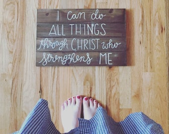 "Handpainted Sign ""I can do all things"""