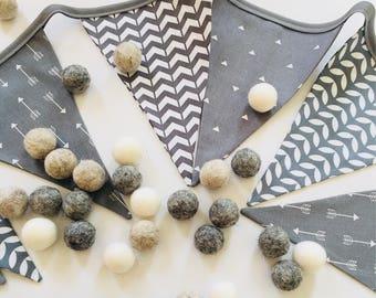 Shades of Grey Fabric Banner - Gray Fabric Bunting