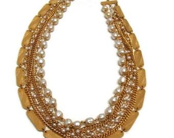 Vintage Chain Necklace Vintage Gold Multi Chain Collar Necklace Vintage Gold Chain Necklace Multi Strand Gold Necklace Multi Strand Necklace