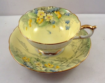 Paragon Cup and Saucer Yellow Blue Flowers Gold Ring By Appointment HM Queen and Queen Mary Fine Bone China England