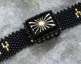 Jewelry - Free Form Peyote Stitch Beaded Bracelet  - Be Yourself - Bead Weaving - Vintage Button - DISCOUNTED