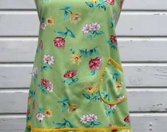 Ladies Full Apron in Soft Lime Green with Pastel Flowers in Pink, Lavender, Yellow & Aqua Leaves, One Pocket Woman's Chefs Apron