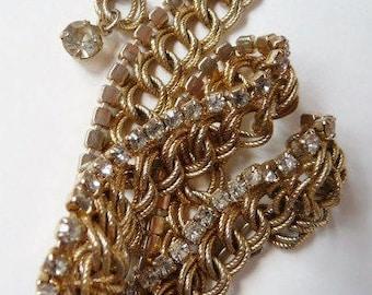 Vintage rhinestone gold tone necklace | 1960s 1970s | prom semi formal destash