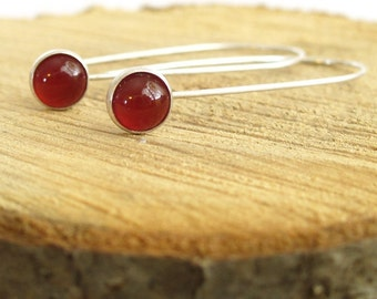 Long Berry Drops.  Simple Sterling Silver and Fine Silver.  RED Carnelian Earrings.
