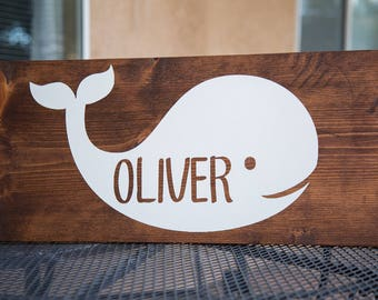 Whale Nursery Name Art
