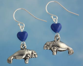 Manatee Love Earrings - pewter dugong charms,  blue glass heart beads, sterling silver hooks - ocean, beach, sea cow -Free Shipping USA