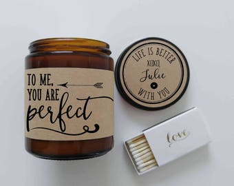 To Me You Are Perfect Valentines Day Gift for Her Girlfriend Gift Personalized Candle Love Actually Love Quote Romantic Gift Holiday Gift