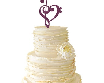 Glitter Music Note Heart - Wedding - Birthday - Acrylic Special Event Cake Topper - 035