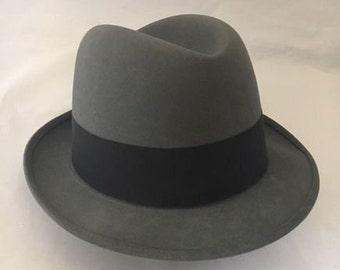 Vintage 1950's Royal Stetson Charcoal Gray Fedora with Black Ribbon/ Mens Hat size 6 7/8