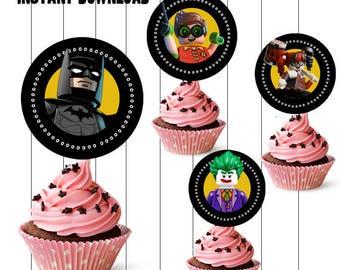 INSTANT DOWNLOAD - Batman Cupcake Toppers, Batman Cupcake Picks, Batman Party Supplies, Batman Birthday Party, Batman Cupcake Toppers