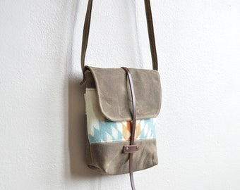 Waxed Canvas Purse Made with Pendleton® Wool Fabric / Crossbody Bag / Wool Purse