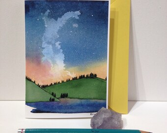 5x7 Blank Greeting Card, Stationary, Milky Way Art, Constellation, Watercolor Card, Northern Lights, sunset reflection, Snail Mail, Birthday