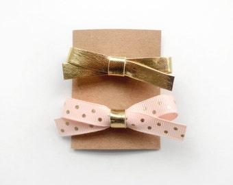 Baby Pink and Metallic Gold Mini Hair Bows - Little Ribbon Hair Clips - Gold Polka Dots