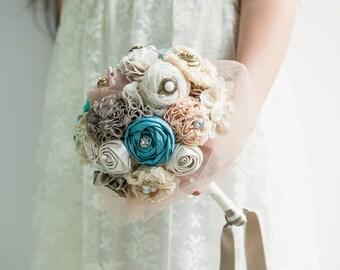 Teal ivory bouquet, bridal bouquet, fabric flowers bouquet
