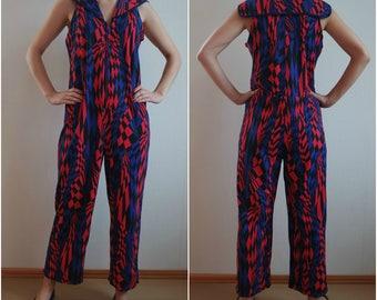 Vintage Women's  Multicolor Jumpsuit, Summer Jumpsuit, Sleeveless Jumpsuit, Cotton Overalls, Size M, 1990s