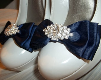 Wedding Shoe Clips, Bridal SHoe CLips - MANY COLORS, Satin Bow SHoe CLips,  Rhinestone SHoe CLips, Shoe CLips for Bridal SHoes Wedding SHoes