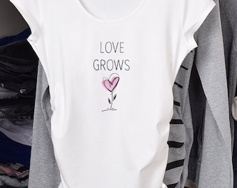 Pregnancy Clothing, Funny Maternity Shirt, Maternity Clothes, Maternity Tshirt, Love Grows