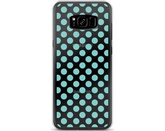 Aqua Polka Dots Pattern Samsung Case